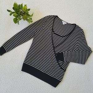 Charter Club Striped Faux Wrap Sweater